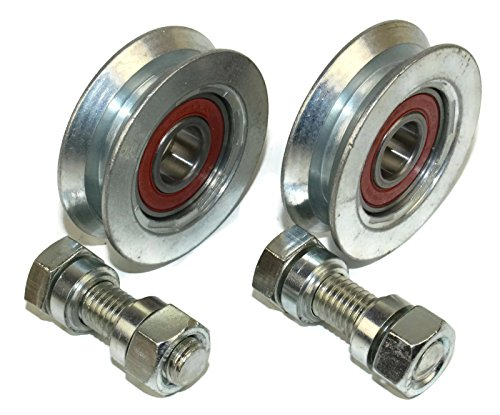 (V58-12) Packung mit 2 Schiebetor-Rädern, Riemenscheiben-Rädern, V-Rillen-Stahlräder, hergestellt in der EU (58 mm Durchmesser - 12 mm Welle)