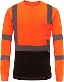 AYKRM Safety T Shirt Reflective High Visibility hi vis Long Sleeve T Shirt