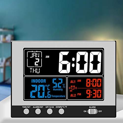 Reloj digital KKmoon Termohigrómetro multifuncional para interiores Termómetro e higrómetro Pantalla grande a color con retroiluminación con calendario perpetuo Alarma y repetición