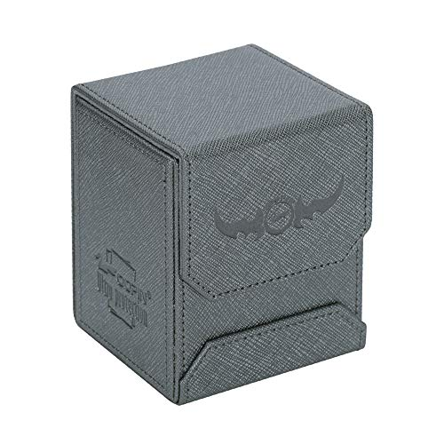 Zoopin Leather Deck Box-Metallic Gray for Collectible Cards-MTG,Yugioh,Pokeman,TES Legacy,Munchkins CCG Decks and Also Small Tokens or Dice- Hold 80 Sleeved Cards or 150 Naked Cards