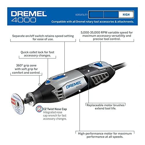 Dremel 4000-6/50 Herramienta Giratoria de Velocidad Variable de 120 Voltios con 50 accesorios