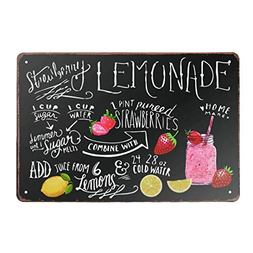 ZMKDLL Metall-Blechschild Erdbeere Limonade Homemade Vintage Retro Schild Poster Bar Stil Neuheit Wandkunst 19 x 20 cm