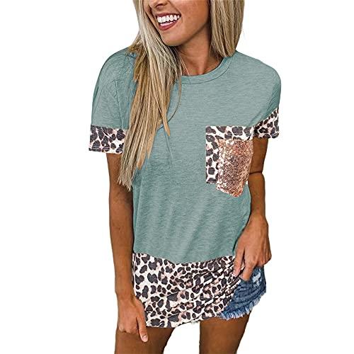Camiseta para Mujer - Manga Corta Bloques de Colores Tops de Verano Camiseta de Cuello Redondo Blusa Suelta Tops con Estampado de Leopardo Camiseta de Cuello Bloques de Colores Blusas y Tops Casuales
