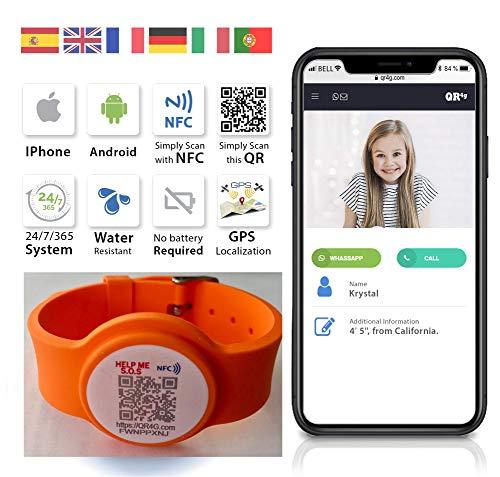 QR4G Verstellbares Armband mit NFC QR GPS Technologie für Kinder und ältere Menschen com (Orange)