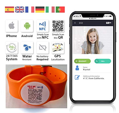 Bracciale Regolabile con Tecnologia NFC QR GPS per Bambini e Adulti QR4G.com (Arancione)