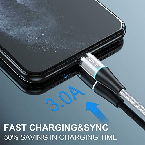 3 in 1 Magnetisch Ladekabel, RAVIAD Nylon Magnet USB Kabel Magnetic Datenkabel Fast Charge Sync Schnellladekabel für Micro USB/Type C/Tablets/Phone/Samsung/Huawei/Honor/Xiaomi/Sony/Kindle