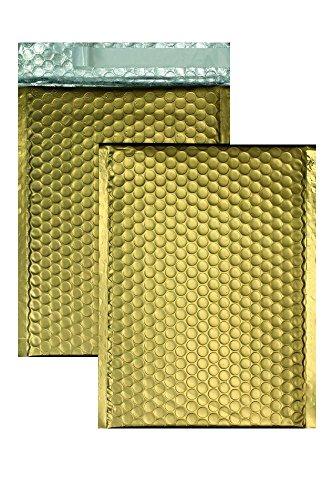 10 Stück, Farbige Luftpolstertaschen, 200 x 250 mm, Haftklebung mit Abziehstreifen, Gerade Klappe, 180 my Metallic Bubble Bags - Matt, Ohne Fenster, Gold, Blanke Briefhüllen