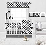 Bacati - Dots/pin Stripes Black/White 10 Pc Crib Set Including Bumper Pad 100 Percent Cotton