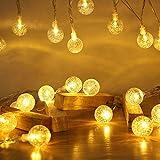 Lichterkette Außen 7.2M 50 LED Warmweiße Lichterkette Aussen mit USB Stecker 8 Modi Wasserdichte Kugel Lichterkette für Innen Dekoration Feste Garten Party Außen Balkons Weihnachten Terrasse