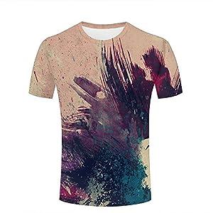 Tシャツグラフィティアート半袖ラウンドネック3Dプリント人気のカジュアルな目立つ夏の半袖面白いユニセックス A XXL