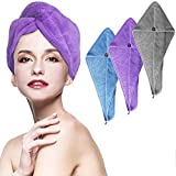 HAYHOI 3 Pack Microfiber Hair Towel Wraps - Large-Size (70cm*24cm) for Women, Anti Frizz Absorbent Bath Shower Hair Turbans, Quick Dry Soft Hair Hat For Curly, Long & Thick Hair (Gray/Blue/Purple)