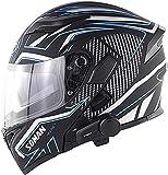 Motorbike Helmet Casco de motocicleta Cascos integrados de cara completa con Bluetooth para motocicleta Casco de motocicleta aprobado por DOT / ECE con doble visera Cascos de protección modulares par
