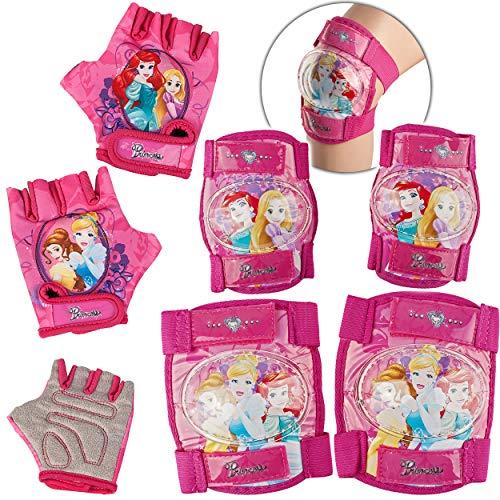 alles-meine.de GmbH 6 TLG. Set - Knieschoner + Ellenbogenschützer + Fahrradhandschuhe - Disney Princess - Prinzessin - für Circa 4 bis 12 Jahre - Kinder - Schutzausrüstung - Gele..