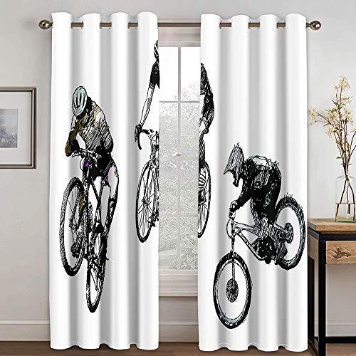 Giunuak Verdunkelungsvorhänge 3D Fahrrad Fahren,Wärmeisolierender Vorhang Lärm Reduzieren Schlafzimmer Wohnzimmer Kinderzimmer Verdunkelungsvorhänge 170Wx200H cm