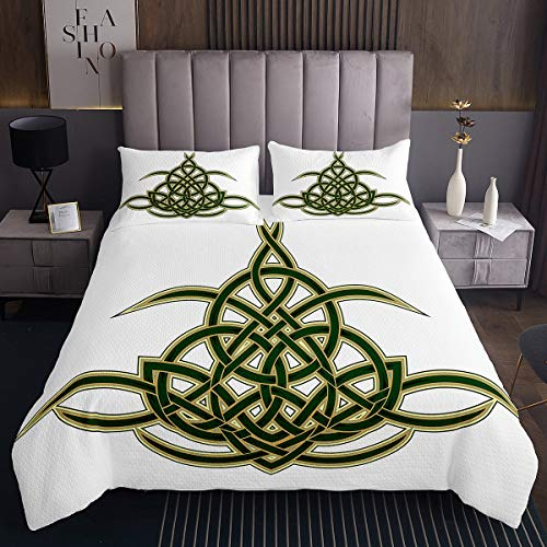Erosebridal Celtic Knot Bedspread Elegant Celtic Lines Quilt for Kids Boys Girls Woven Pattern Coverlet Set Green Abstract Art Daybed Ultra Soft Decorative Room with 1 Pillow Case Twin Size