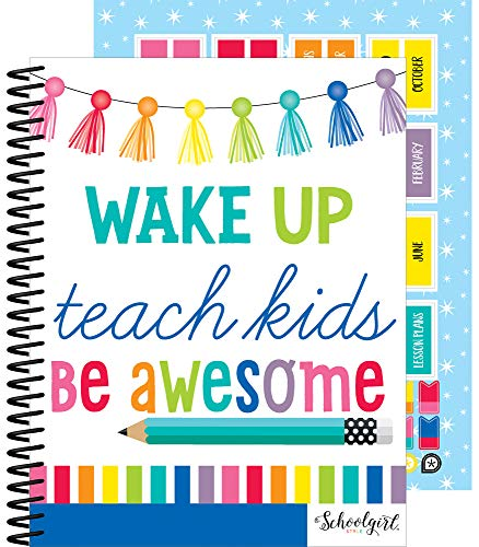 """Schoolgirl Style Academic Teacher Planner - Undated Weekly/Monthly Plan Book, Hello Sunshine Lesson Planner and Organizer for Classroom or Homeschool (8.4"""" x 10.9"""")"""