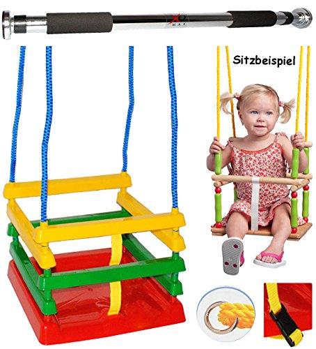alles-meine.de GmbH 2 TLG. Set _ Schaukel aus Kunststoff mit Gurt & Türreck - Gitterschaukel / Kinderschaukel - Sicherheitsgurt & Leichter Einstieg ! __ mitwachsend & verstellbar..