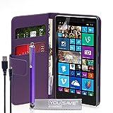 Yousave Accessories Coque Compatible pour Nokia Lumia 930 Etui Violet PU Cuir Portefeuille Housse avec Stylet Et Chargement Micro...
