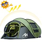 ayamaya Tents 3-4 Person/People/Man Instant Pop Up Easy Quick Setup, Ventilated [2 Door] [Mesh Window] Waterproof 3 Season Big Family Privacy Dome Tent Shelter for Backpacking Picnic Travel