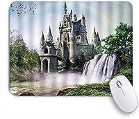 NINEHASA 可愛いマウスパッド キャッスルファンタジープリンセスおとぎ話レインボー滝魔法の風景鳥美しい ノンスリップゴムバッキングコンピューターマウスパッドノートブックマウスマット