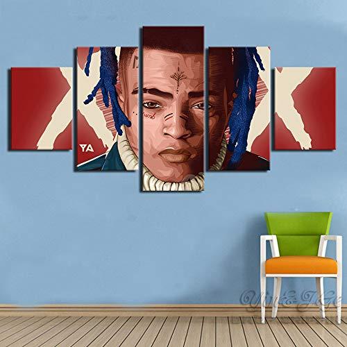 Modulare Bilder Home Wanddekoration 5 Stk. Xxxtentacion Rap Hip Hop Musik Sänger Star Star Modern Canvas Prints Gemälde Poster(size 2)