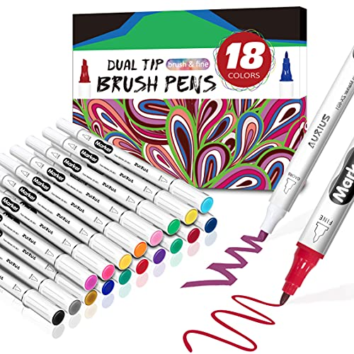 Dual tip brush pen set, Malstifte Filzstife, Farben Stifte, Marker-Set, Malstifte für Erwachsene und Kinder Malen Färben, Skizzieren, Zeichn,feiner Pinsel zum Zeichnen und Illustrieren, 18 Farben