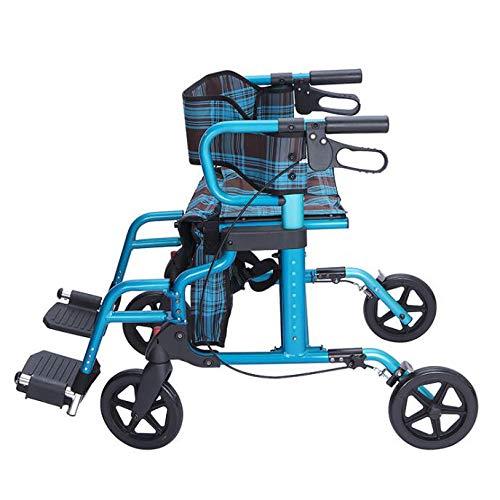 ZHHB Älterer 4-Rad-Gehrollator, Faltbar Gehhilfe Höhenverstellbar Mit Gepolstertem Sitz Und Rückenlehne, Feststellbare Bremsen