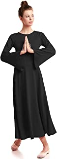 Adult Women Praise Dance Robe Liturgical Solid Color Bell Sleeve Dress Full Length Loose Fit Worship Costume