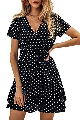 Zilcremo Damen Sommerkleid Boho Kleider Polka Dot Kurzarm V-Ausschnitt Wickelkleider Minikleider mit Gürtel Schwarz S