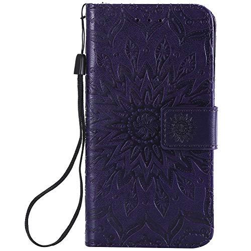 KKEIKO Hülle für Galaxy J2 Core, PU Leder Brieftasche Schutzhülle Klapphülle, Sun Blumen Design Stoßfest HandyHülle für Samsung Galaxy J2 Core - Violett