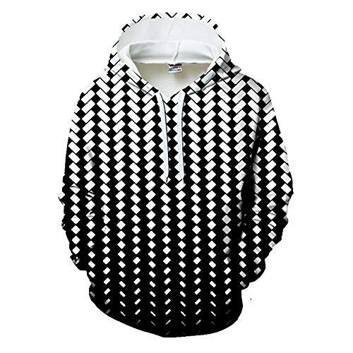Capuchontrui, liefhebbers van geblokte zwart-wit-digitale druk 3D dragen Europese en Amerikaanse sportbaseballuniform Het met capuchon gebreide vest