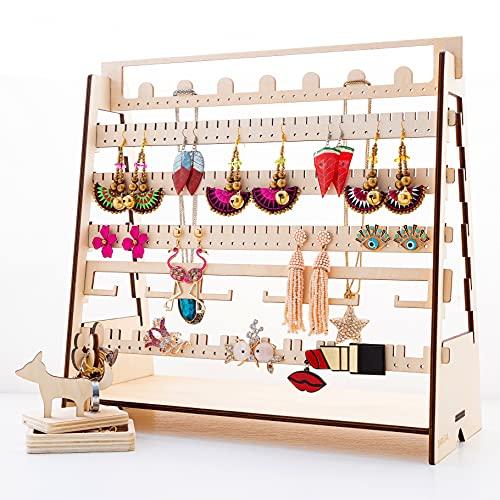 SAMIGAL - Pulsera ajustable de madera para pendientes de joyería, collar, broche y tobillera, organizador de doble cara, accesorio para guardar tus joyas en un solo lugar