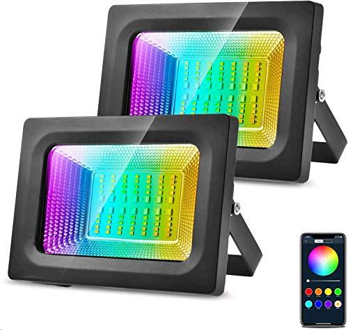 Viugreum RGB Strahler 20W 2er-Set, LED RGB Fluter Kompatibel mit Alexa Google Home, 3 in 1 LED Gartenstrahler, Wifi APP-Steuerung 16 Mio. Farben IP66