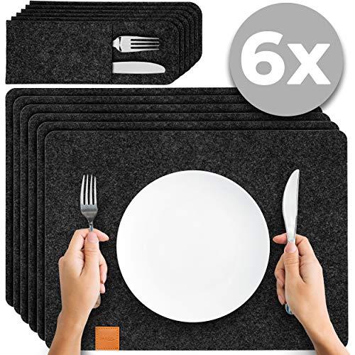 Filution Platzset anthrazit - Tischset abwaschbar aus Filz 44x32cm Filzuntersetzer - 6x abwaschbare Tischuntersetzer - 6x Bestecktaschen