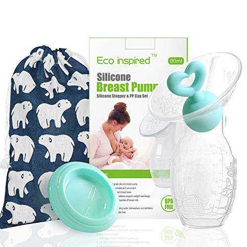 Manual Breast Pump with Green Heart Shape Silicone Stopper and Green PP lid for Breastfeeding 1 Pack, 3oz/90ml