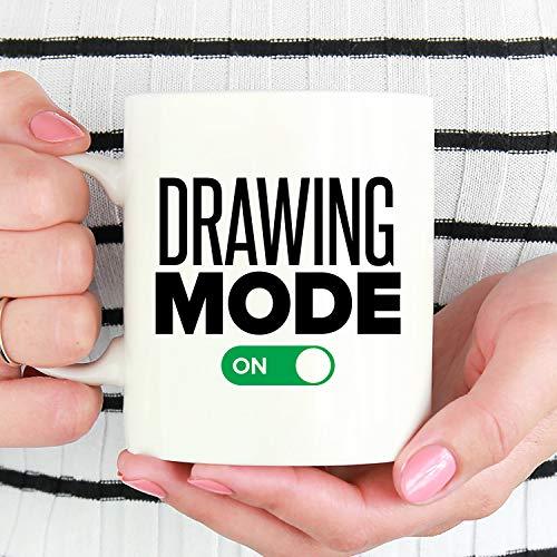 Alicert5II Tekenmodus op grappige teken-beker-cadeau voor K ¹1nstler tekening-koffiekopje teken-liefhebber-geschenk-K ¹1nstler mok White Ceramic Coffee Mok Cup