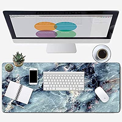 "ZYCCW Large Gaming XXL Mouse Pad, Oversized Extended Mat Desk Pad Keyboard Pad (31.5""x11.8""x0.15"") Thick Non-Slip Rubber Stitched Edges(Marble)"