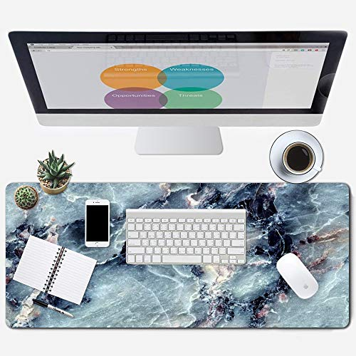 ZYCCW Large Gaming Mouse Pad, Oversized Extended Mat Desk Pad Keyboard Pad (31.5'x11.8'x0.15') Thick Non-Slip Rubber Stitched Edges (Blue Marble Agate)…