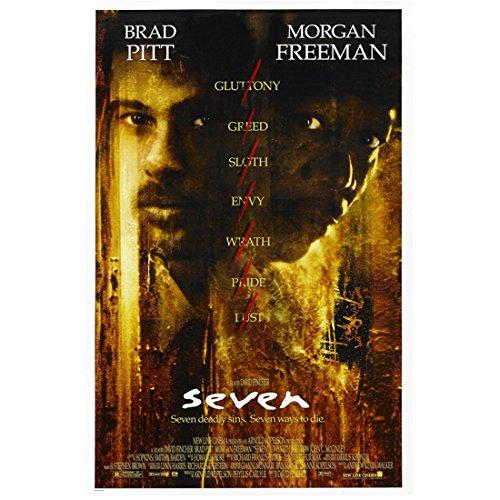 Brad Pitt 11 inch x 14 inch Photograph Se7en (1995) w/Morgan Freeman Movie Poster kn