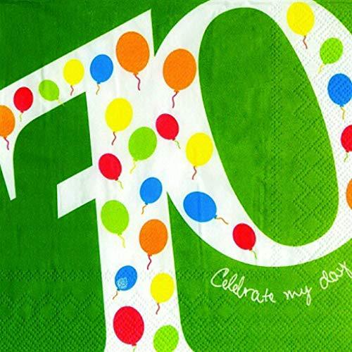 IHR - Ideal Home Range GmbH 70 Geburtstag Serviette Ballons Rundes Lebensjahr 20 Stck 3-lagig 33x33cm