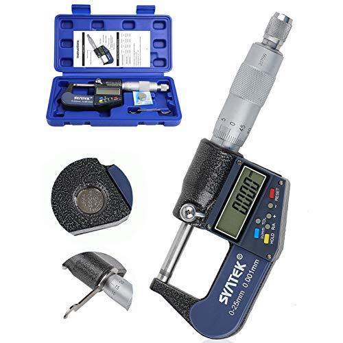 Micrómetro Digital, Micrómetro Electrónico Exteriores 0-25mm 0,001mm Resolución Calibre Digital Palmer de Alta Precision Modo Absoluto y Modo Incremental Medida Pulgada Métrica