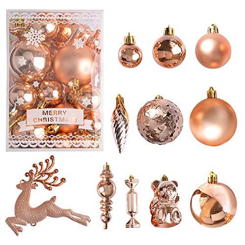 Kalolary 30 Pezzi Ornamento palla di Natale, Palla di Natale, Albero di Natale Palla Decorazioni, Ornamenti Palla di Natale Decorazione per Alberi di Natale, Nozze, Partito Decorazione (Oro Rosa)