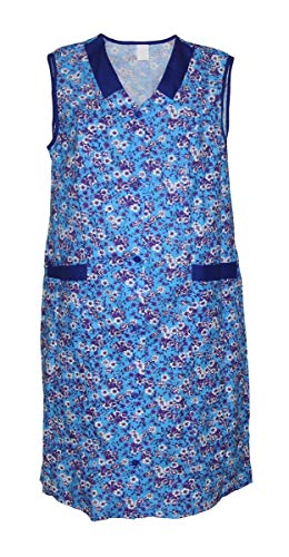 Damenkittel Baumwolle Hauskleid ohne Arm Kittel Schürze bunt, Größe:62, Modell:Modell 4