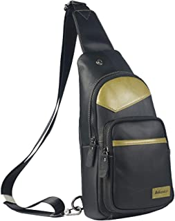 Men's Bag Men's Chest Bag One-shoulder Crossbody Bag Leisure Sports Mini Backpack (Color : Bronze, Size : M)