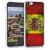 kwmobile Funda Compatible con Apple iPhone 6 / 6S - Carcasa de TPU y Bandera española Retro en Amarillo/Blanco/Rojo