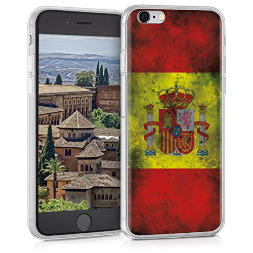 kwmobile Funda Compatible con Apple iPhone 6 / 6S - Carcasa de TPU y Bandera española Retro en Amarillo/Blanco/Rojo