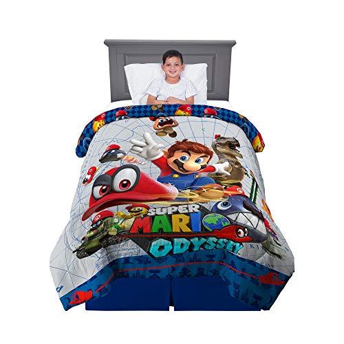 Franco Kids Bedding Soft Reversible Comforter, Twin/Full Size 72' x 86', Super Mario