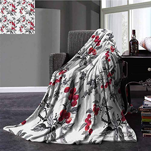 Rowan Picnic Blanket Abstract Modern Garden Theme with Artistic Rowan Plant Botanical Pattern Design Winter Warm Blanket Twin Size Ruby Grey Black 60x70 Inch