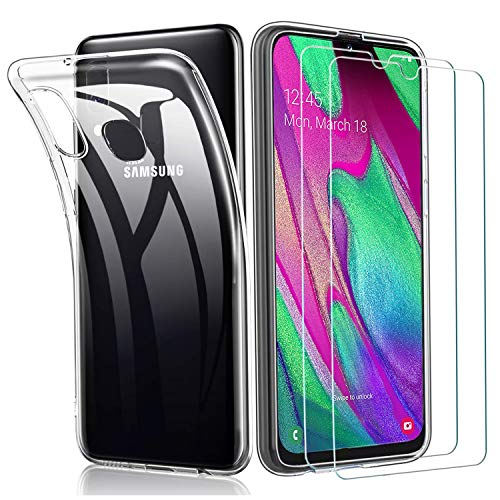ILUXUS Kompatibel mit Samsung Galaxy A40 Hülle und Panzerglas, [1 Handyhülle + 2 Panzerglas], Schutzfolie Glas 9H & Soft Silikon Bumper Cover Handyhülle für Samsung Galaxy A40 - Transparent