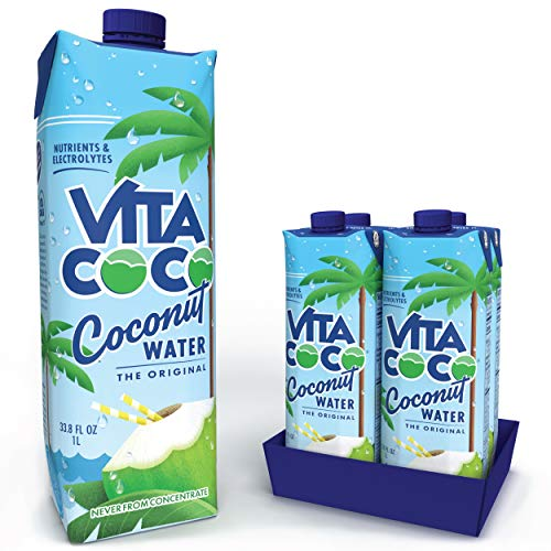 Vita Coco Coconut Water, Pure - Naturally Hydrating Electrolyte Drink - Smart Alternative to Coffee, Soda, and Sports Drinks - Gluten Free - 33.8 Ounce (Pack of 4)